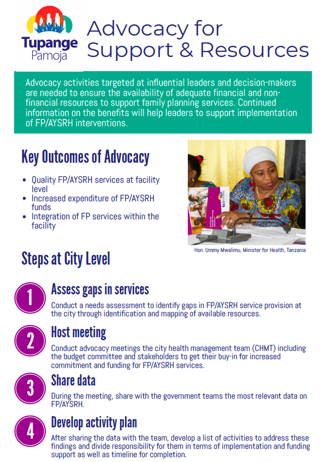 Advocacy for Increased Support & Resources for Family Planning & AYSRH Job Aid